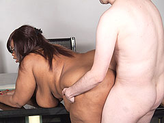 Needy fattie slut got bored at work and fucked a candidate who came about a job