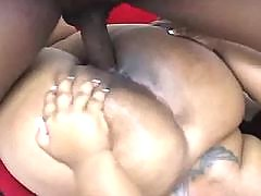 Adorable plump ebony sweetie gets screwed