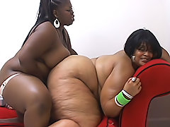 Black BBW lesbians play with a strap-on