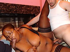 A Black BBW Gets Fucked By Two Guys