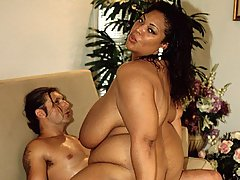 Thick Ebony Chick Tit Fucks White Dick