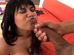 Busty large black whore gets facial