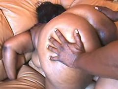 Ebony fatty fucked by chocolate guy
