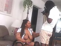Fat ebony knows how to handle cock