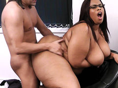 Boss fucks his crazy hot black BBW secretary and ends messed up