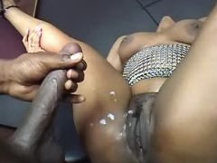Chubby ebony gets cum on wet pussy