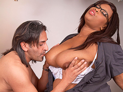 Black BBW secretary ruins marriage by making her boss bump uglies with her