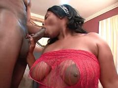 Black BBW spoils guy and sucks cock